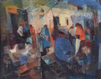STREET MARKET, MALAGA by George Campbell RHA RUA at Ross's Auctions