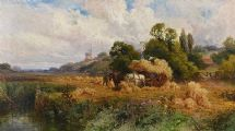 HARVESTING, SUSSEX by John Horace Hopper at Ross's Auctions