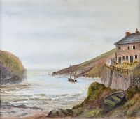 PORT QUINN, CORNWALL by R.J. Finney at Ross's Auctions