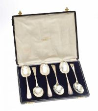 CASED SET OF SIX SILVER SERVING SPOONS at Ross's Auctions