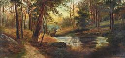 STAG BY THE RIVER IN THE WOODS by Alice Strain at Ross's Auctions
