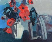 STILL LIFE POPPIES AND IRON by Brian Ballard RUA at Ross's Auctions