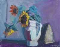 STILL LIFE, SUNFLOWERS & IRON by Brian Ballard RUA at Ross's Auctions