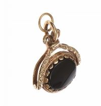 9CT GOLD HARDSTONE-SET FOB at Ross's Jewellery Auctions
