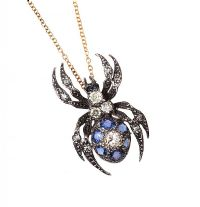18CT GOLD SAPPHIRE AND DIAMOND SPIDER PENDANT AND CHAIN at Ross's Jewellery Auctions