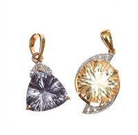 TWO 9CT GOLD DIAMOND AND  QUARTZ PENDANTS at Ross's Jewellery Auctions