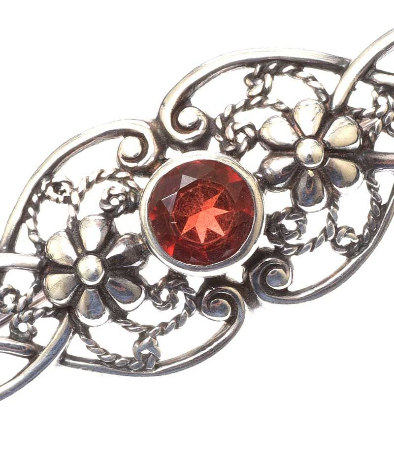 Silver Red Granite : Sterling silver and red stone brooch