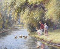 FEEDING DUCKS by Charles McAuley at Ross's Auctions