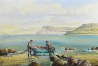 FISHERMEN CARNLOUGH BAY, COUNTY ANTRIM by Robert T.  Cochrane at Ross's Auctions