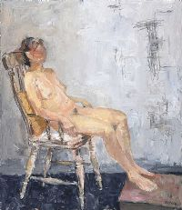 SEATED FEMALE NUDE STUDY by Basil Blackshaw HRHA HRUA at Ross's Auctions