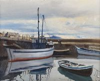 THE NOBBY AT A CORNER OF THE HARBOUR, ROUNDSTONE, CONNEMARA by Cecil Maguire RUA at Ross's Auctions