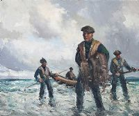 ARAN FISHERMEN by Maurice Canning  Wilks ARHA RUA at Ross's Auctions