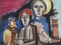 TWO FIGURES AND BOTTLES by Markey Robinson at Ross's Auctions