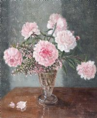 STILL LIFE, PAEONIES by Lydia de Burgh RUA UWS at Ross's Auctions