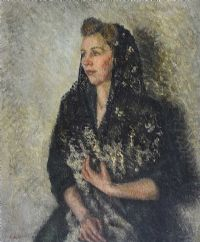 LADY IN A BLACK SHAWL by Lydia de Burgh RUA UWS at Ross's Auctions