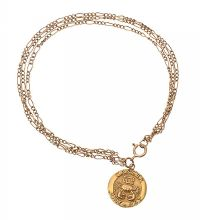 9CT GOLD 'CANCER' PENDANT ON A 9CT GOLD FIGARO-LINK BRACELET at Ross's Jewellery Auctions