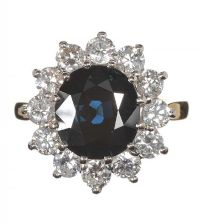 18CT GOLD SAPPHIRE AND DIAMOND CLUSTER RING at Ross's Jewellery Auctions