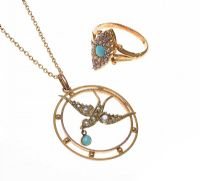 9CT GOLD TURQUOISE AND SEED PEARL JEWELLERY SET at Ross's Jewellery Auctions