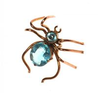 9CT GOLD SPIDER CHARM SET WITH BLUE CRYSTAL at Ross's Jewellery Auctions