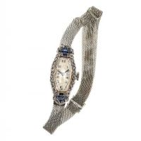 18CT WHITE GOLD DIAMOND AND SAPPHIRE LADY'S WATCH at Ross's Jewellery Auctions