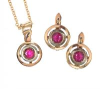 14CT GOLD RUBY EARRINGS AND PENDANT at Ross's Jewellery Auctions