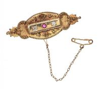 15CT GOLD ANTIQUE DIAMOND AND RUBY BROOCH at Ross's Jewellery Auctions