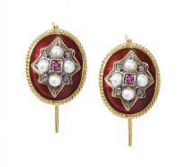 ANTIQUE 18CT GOLD ENAMEL, DIAMOND AND SEED PEARL EARRINGS by Onyx at Ross's Auctions