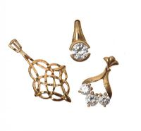 THREE 9CT GOLD PENDANTS, TWO SET WITH CUBIC ZIRCONIA at Ross's Jewellery Auctions