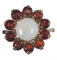 9CT GOLD CLUSTER RING SET WITH OPAL AND GARNET at Ross's Jewellery Auctions
