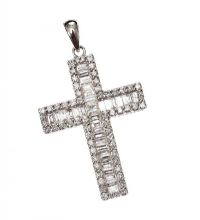 18CT WHITE GOLD AND DIAMOND CROSS at Ross's Jewellery Auctions