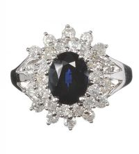 14CT WHITE GOLD SAPPHIRE AND DIAMOND CLUSTER RING at Ross's Jewellery Auctions