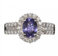 14CT WHITE GOLD TANZANITE AND DIAMOND RING at Ross's Jewellery Auctions