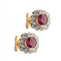 18CT GOLD RUBY AND DIAMOND CLUSTER EARRINGS at Ross's Jewellery Auctions