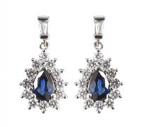 18CT WHITE GOLD SAPPHIRE AND DIAMOND DROP EARRINGS at Ross's Auctions