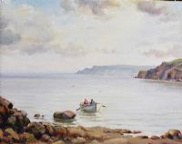 BOAT AT GARRON POINT, COUNTY ANTRIM by Charles McAuley at Ross's Auctions