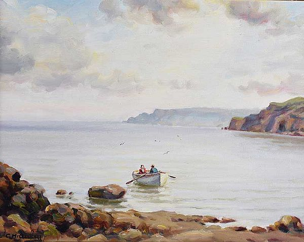 BOAT AT GARRON POINT, COUNTY ANTRIM by Charles McAuley at Ross's Online Art Auctions