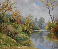 RIVER REFLECTIONS by E. Guyot at Ross's Auctions