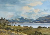 DISTANT MOUNTAINS ACROSS THE LOUGH by Richard Haworth at Ross's Auctions