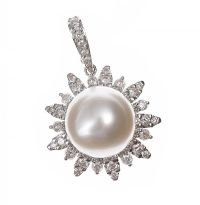 18CT WHITE GOLD SOUTH SEA PEARL AND DIAMOND PENDANT at Ross's Jewellery Auctions