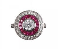 18CT WHITE GOLD RUBY & DIAMOND ROUND RING at Ross's Jewellery Auctions