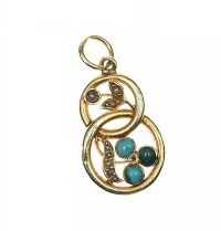 15CT GOLD SEED PEARL AND TURQUOISE PENDANT at Ross's Jewellery Auctions