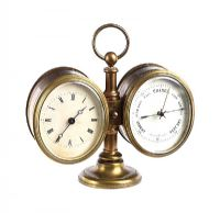 BRASS CLOCK BAROMETER at Ross's Auctions