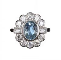 18CT WHITE GOLD AQUAMARINE AND DIAMOND RING at Ross's Auctions