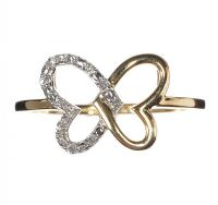 9CT GOLD BUTTERFLY RING SET WITH DIAMONDS at Ross's Jewellery Auctions