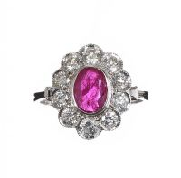 18CT WHITE GOLD RUBY AND DIAMOND CLUSTER RING at Ross's Jewellery Auctions