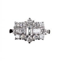 PLATINUM AND DIAMOND CLUSTER BOAT RING at Ross's Auctions