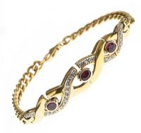 14CT GOLD RUBY AND DIAMOND BRACELET at Ross's Jewellery Auctions