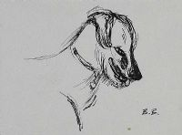 HEAD OF A LURCHER by Basil Blackshaw HRHA HRUA at Ross's Auctions