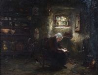 READING IN THE COTTAGE by Otto Theodore Leyde RSA at Ross's Auctions