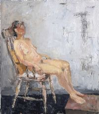 SEATED FEMALE NUDE STUDY by Basil Blackshaw HRHA HRUA